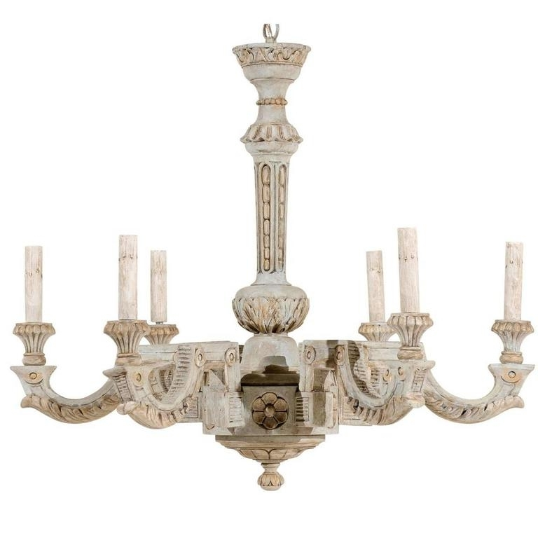 Trendy French Wooden Chandelier Regarding French Vintage Painted And Carved Wood Chandelier With Six Lights (View 9 of 10)