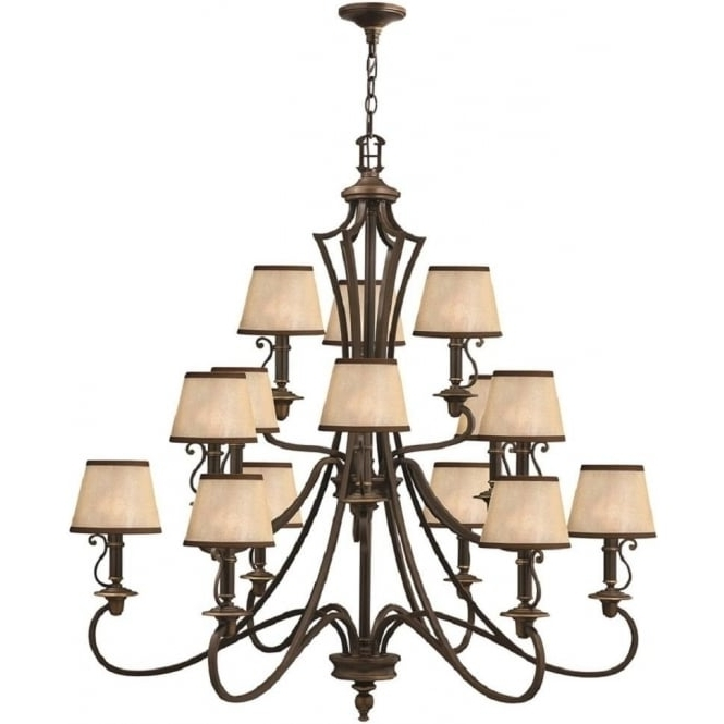 Trendy Large 15 Light Bronze Feature Chandelier For Large High Ceiling Rooms For Large Bronze Chandelier (View 9 of 10)