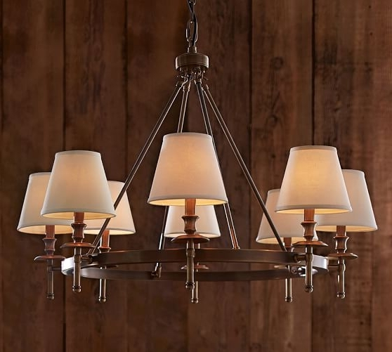 Trendy Linen Chandeliers Throughout Pb Basic Linen Chandelier Shade, Set Of (View 1 of 10)
