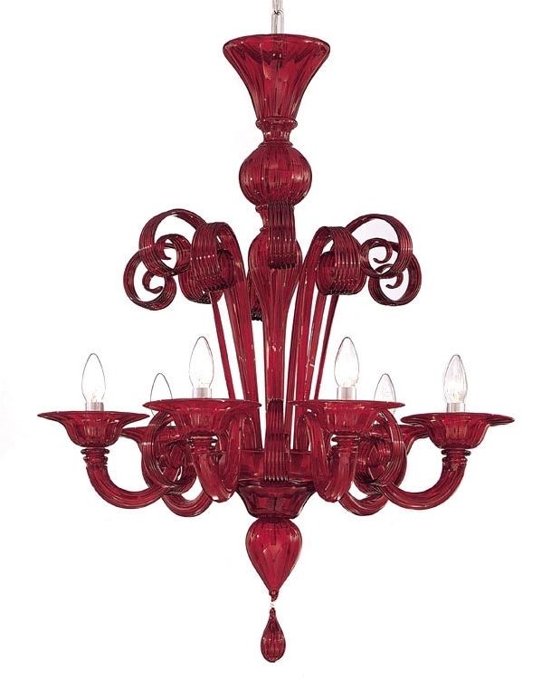 Trendy Modern Red Chandelier Pertaining To Red Murano Glass Chandelier (View 8 of 10)