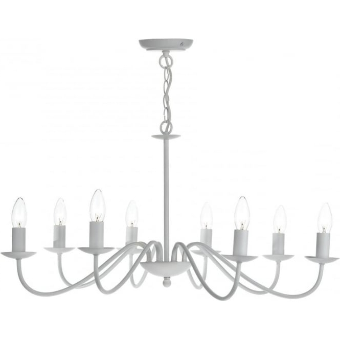 Trendy White Chandelier Pertaining To Matt White Chandelier In Simple Flemish Styling With 8 Candle Lights (View 7 of 10)
