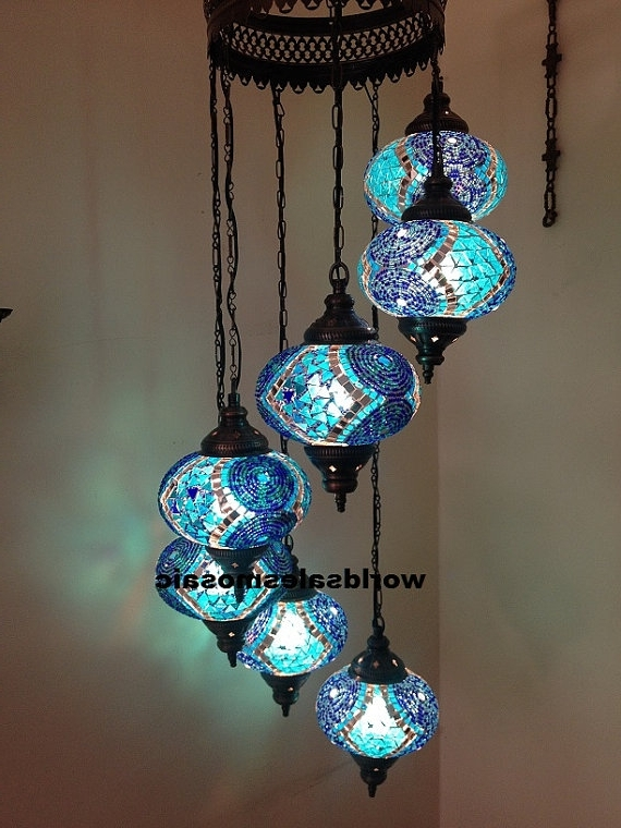 Turquoise Ball Chandeliers For 2017 7 Ball Large Mosaics Turkish Moroccan Hanging Glass Mosaic Helezon (View 3 of 10)