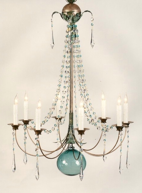 Turquoise Ball Chandeliers With Regard To Favorite Hanging Chandelier Light With Blue Green Glass Orb In Middle (View 2 of 10)