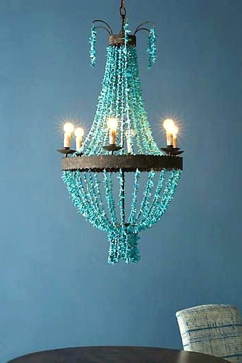 Turquoise Beaded Chandelier Light Fixture Ed Vintage Lighting In Most Popular Turquoise Beaded Chandelier Light Fixtures (View 2 of 10)