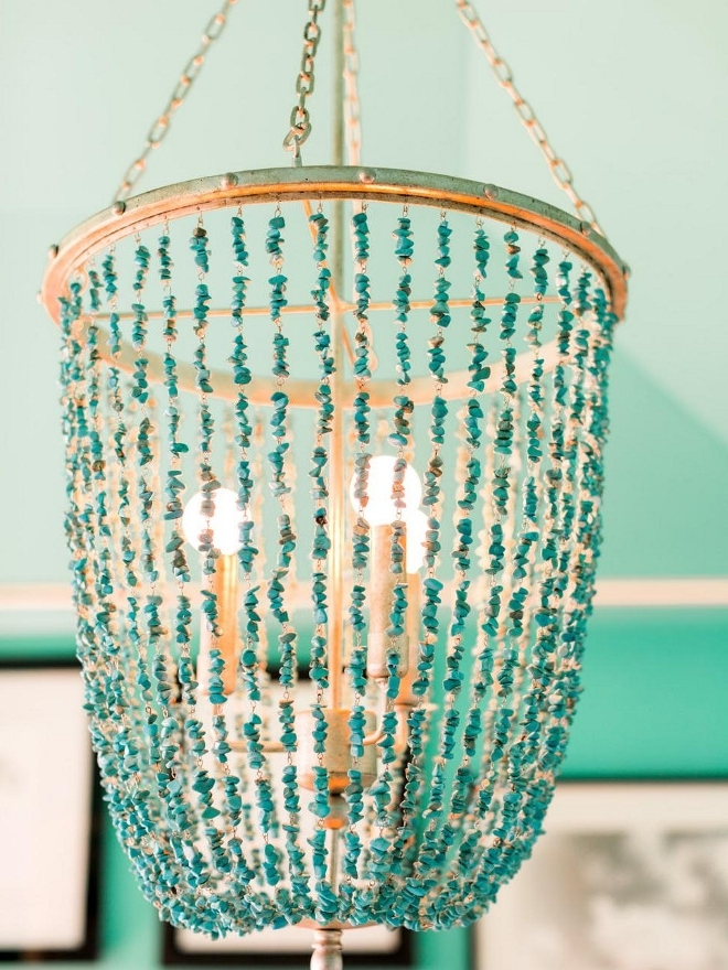Turquoise Beaded Chandelier. Turquoise Chandelier (View 3 of 10)