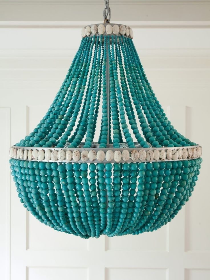 Turquoise Beaded Chandeliers High Amp Diy Apartment Therapy Inside Widely Used Turquoise Blue Beaded Chandeliers (View 6 of 10)