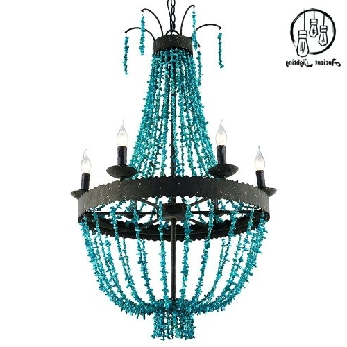 Turquoise Beads Six Light Chandeliers In Most Recent Chandeliers ~ Turquoise Beaded Chandelier Light Fixture Turquoise (Gallery 10 of 10)