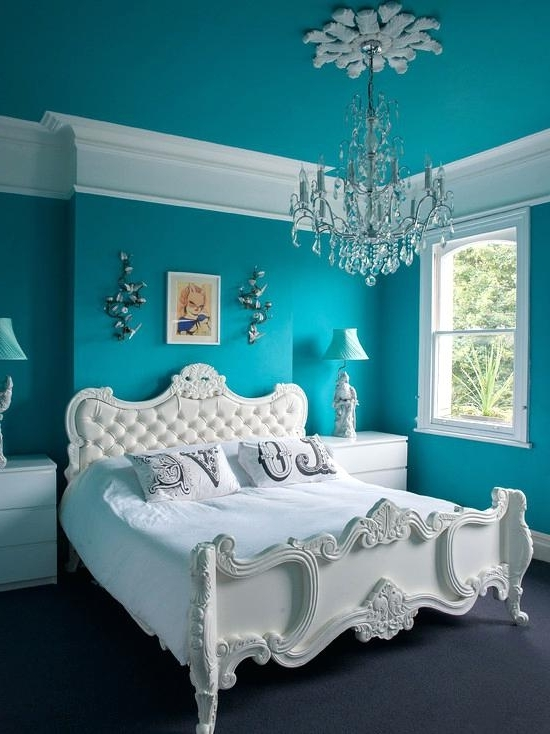 Turquoise Bedroom Chandeliers For Current Teenage Girl Room Colors Luxurious Bedroom Design With Turquoise (View 10 of 10)