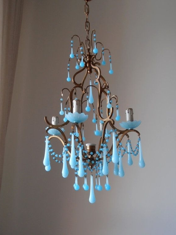 Turquoise Birdcage Chandeliers Intended For Most Recently Released Rare Vintage Italian Brass Gilded Aqua Blue Opaline Birdcage Crystal (View 6 of 10)