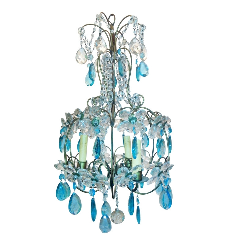 Turquoise Birdcage Chandeliers With 2018 Vintage Turquoise Daisy Chandelier (View 3 of 10)