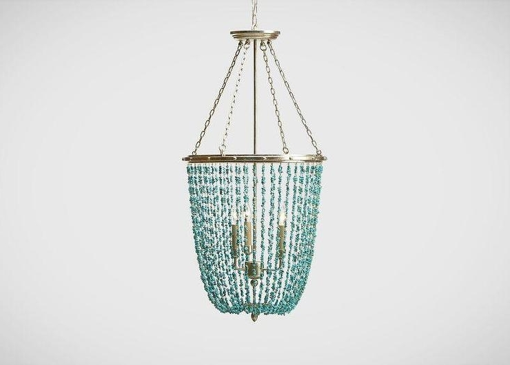 Turquoise Blue Beaded Chandeliers Pertaining To Well Liked Stone Beaded Chandelier (View 3 of 10)