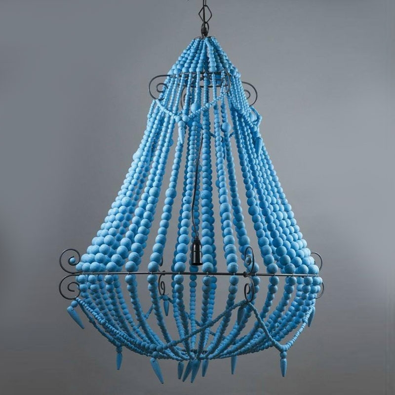 Turquoise Blue Beaded Chandeliers Regarding Famous Large Boho Turquoise Blue Beaded Chandelier – The Gilded Pear (View 2 of 10)