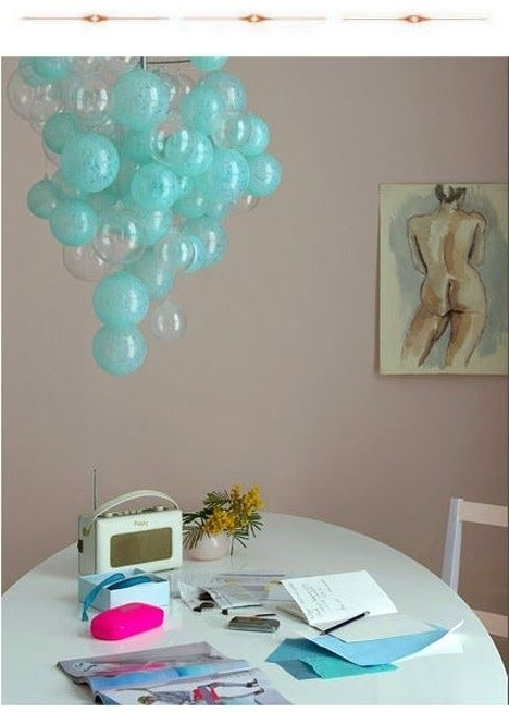Turquoise Bubble Chandeliers For Best And Newest Use This Idea For Bulb Covers To Add More Color In The Kitchen (View 9 of 10)