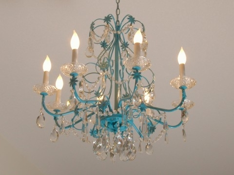 Turquoise Crystal Chandelier Lights Throughout 2018 Home Design : Gorgeous Turquoise Crystal Chandelier A Igp2233 (Gallery 3 of 10)