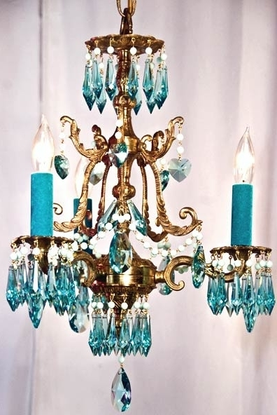 Turquoise Crystal Chandelier Lights Throughout Trendy Home Design : Turquoise Crystal Chandelier Turquoise Crystal (View 2 of 10)