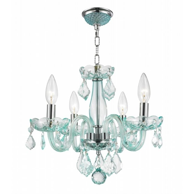 Turquoise Crystal Chandelier Lights Throughout Well Known W83100c16 Cb Clarion 4 Light Chrome Finish Coral Blue Crystal Chandelier (Gallery 4 of 10)