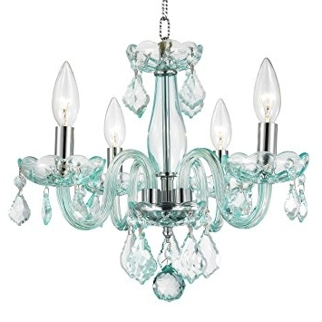 Turquoise Crystal Chandelier Lights Throughout Well Liked Amazon: Worldwide Lighting Clarion Collection 4 Light Chrome (Gallery 10 of 10)