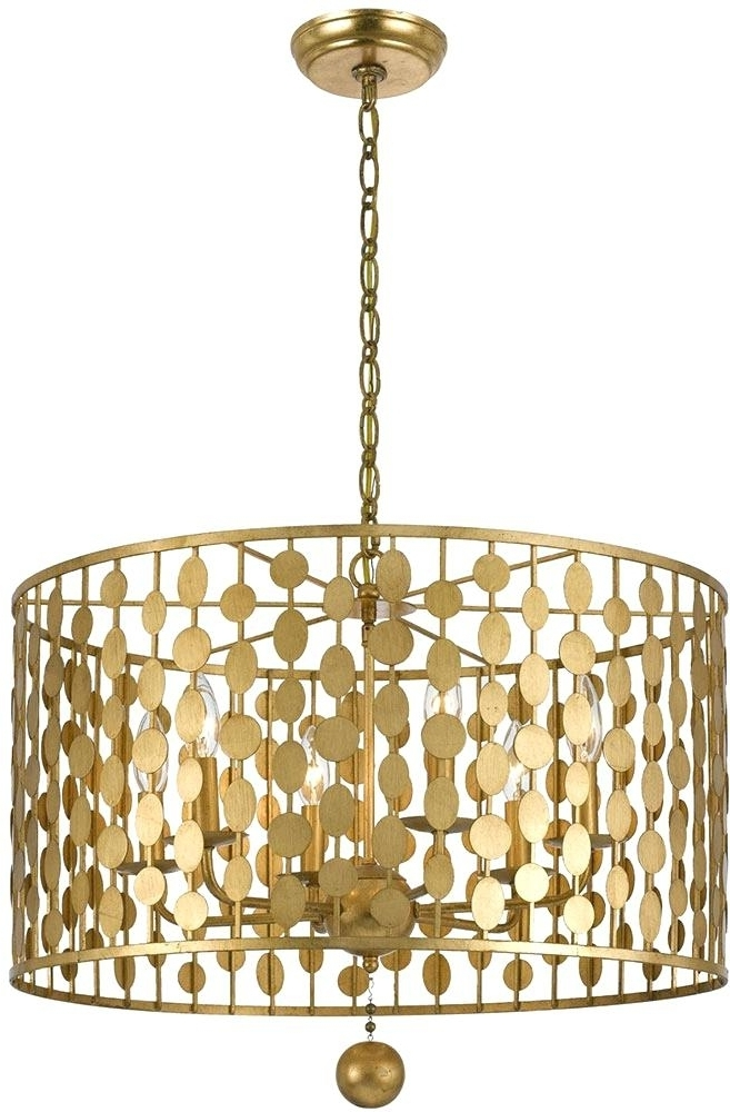 Turquoise Drum Chandeliers For Newest Drum Pendant Chandelier Edrexco Gold Crystorama 545 Ga Layla Modern (View 9 of 10)