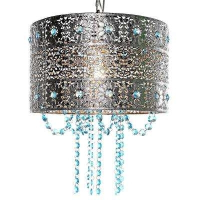 Turquoise Drum Chandeliers Inside Recent Drum – Silver – Chandeliers – Lighting – The Home Depot (View 6 of 10)