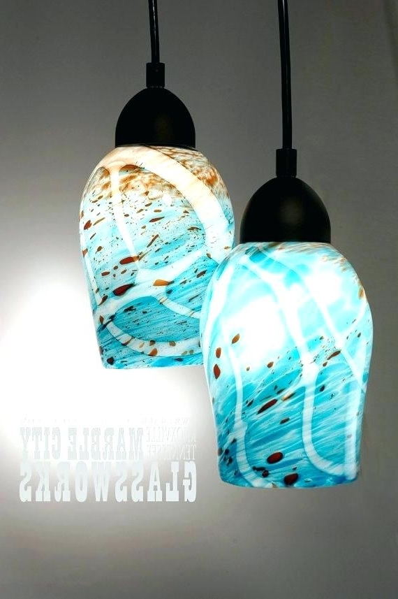 Turquoise Glass Pendant Lights – Bartarin (View 3 of 10)
