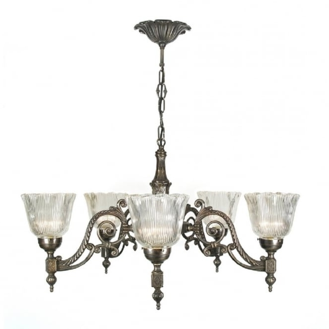 Victorian Or Edwardian Aged Brass Chandelier With Halophane Shades Throughout Popular Traditional Brass Chandeliers (Gallery 2 of 10)