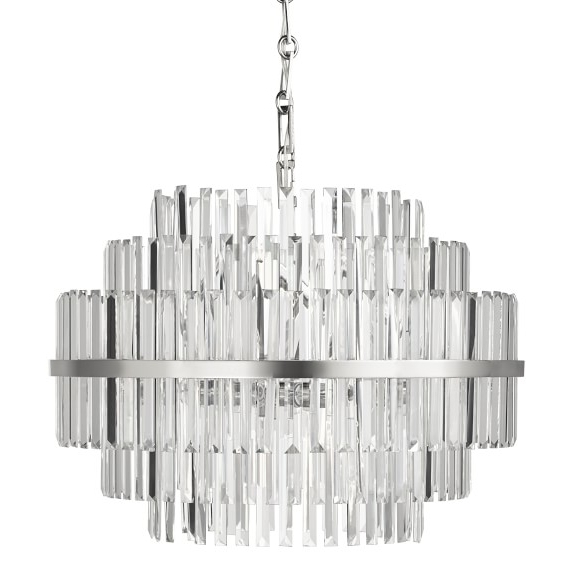 "Vienna 22"" Round Crystal Chandelier, Polished Nickel (View 6 of 10)"