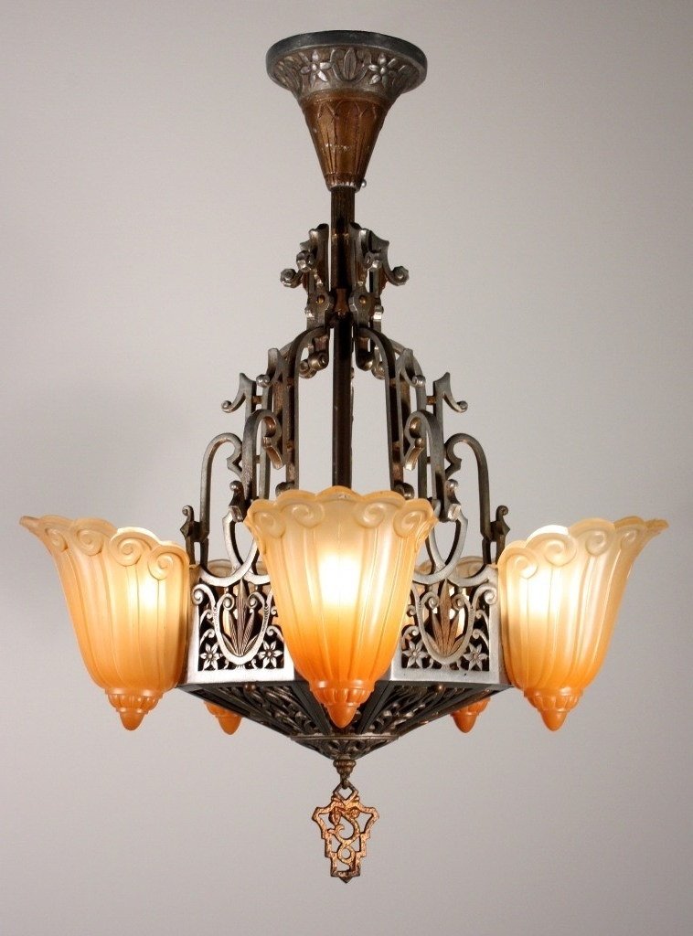 Vintage Five Light Art Deco Slip Shade Chandelierlincoln Intended For Most Recent Art Deco Chandeliers (View 8 of 10)