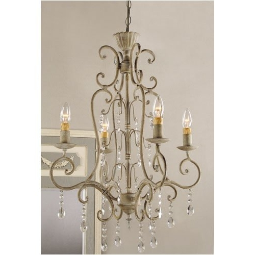 Vintage French Chandeliers Pertaining To Preferred Modern French Country Chandelier In Shabby Vintage Metal Crystal (View 8 of 10)