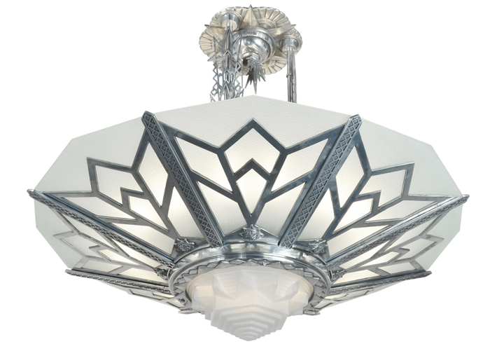 Vintage Hardware & Lighting – Large Art Deco Chandelier Manhattan Within Most Recent Large Art Deco Chandelier (View 9 of 10)