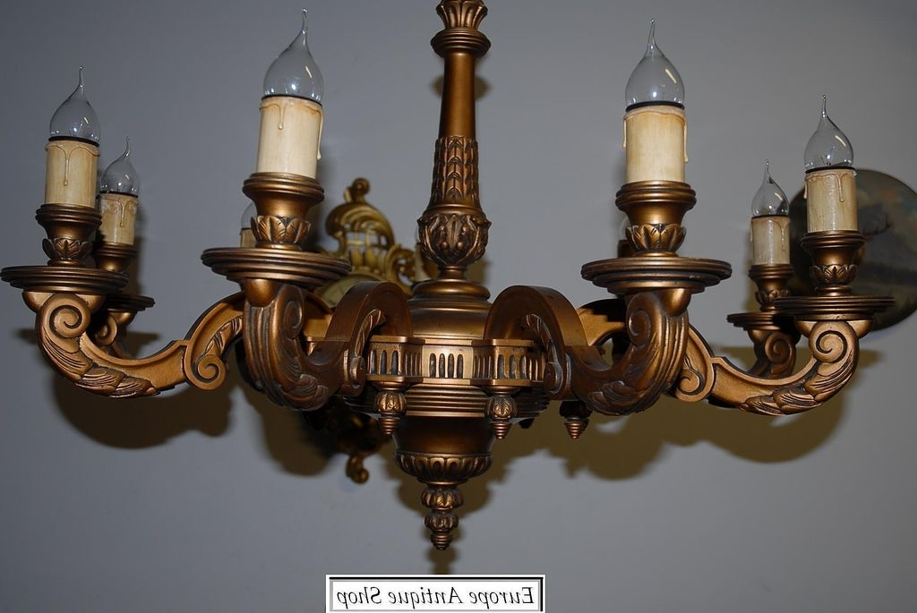 Vintage Italian Chandeliers Inside Trendy A Huge French Antique Carved Wood Gilded 9 Light Chandelier From (View 8 of 10)