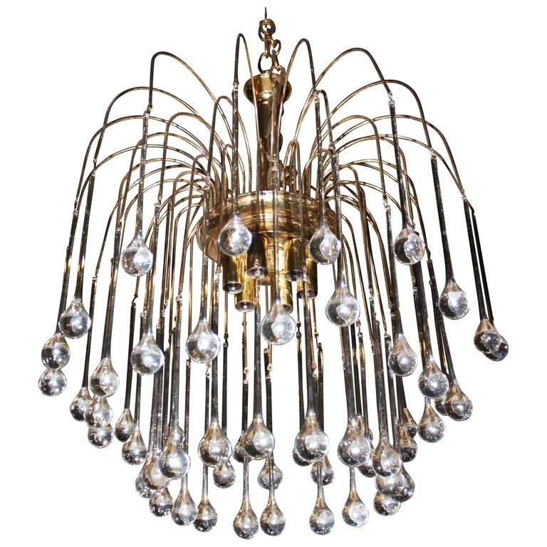 Vintage Italian Chandeliers Pertaining To Well Liked Vintage Italian Murano Glass Waterfall Chandelier Tear Drop Brass (View 10 of 10)