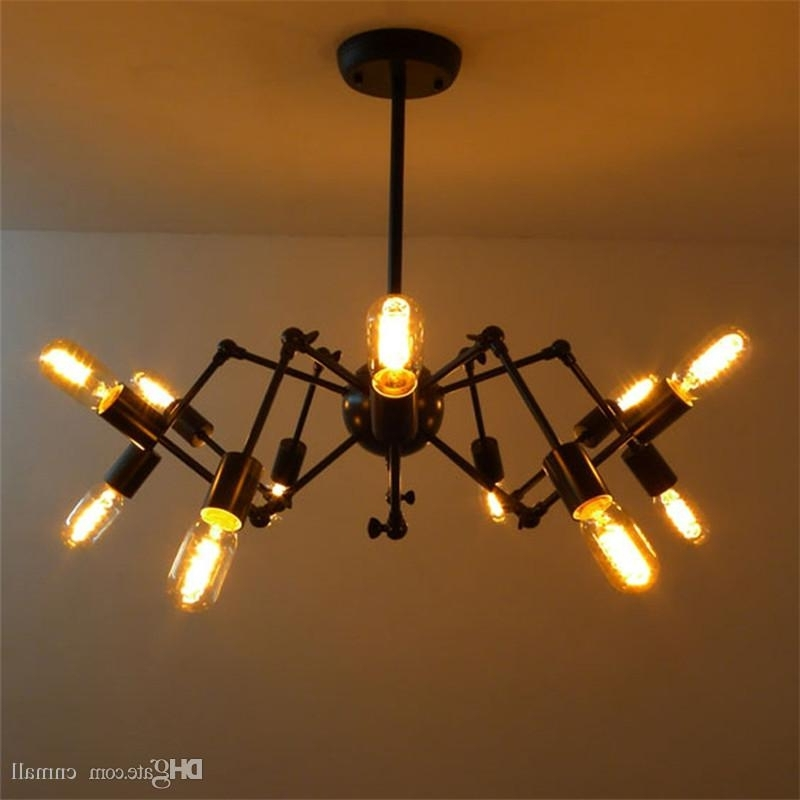Vintage Style Chandelier Throughout Newest New Spider Chandelier Vintage Wrought Iron Pendant Lamp Loft (View 9 of 10)