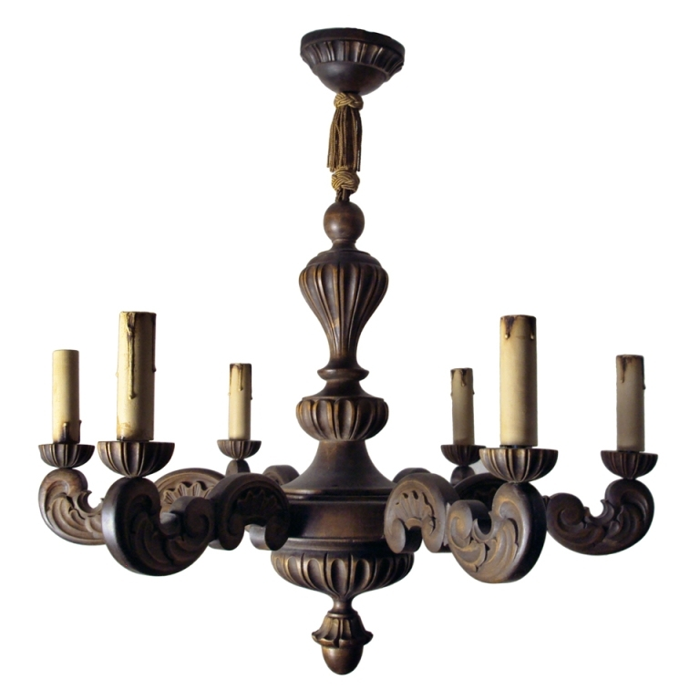 Vintage Swedish Carved Wood Rococo Style 6 Arm Chandelier (View 10 of 10)