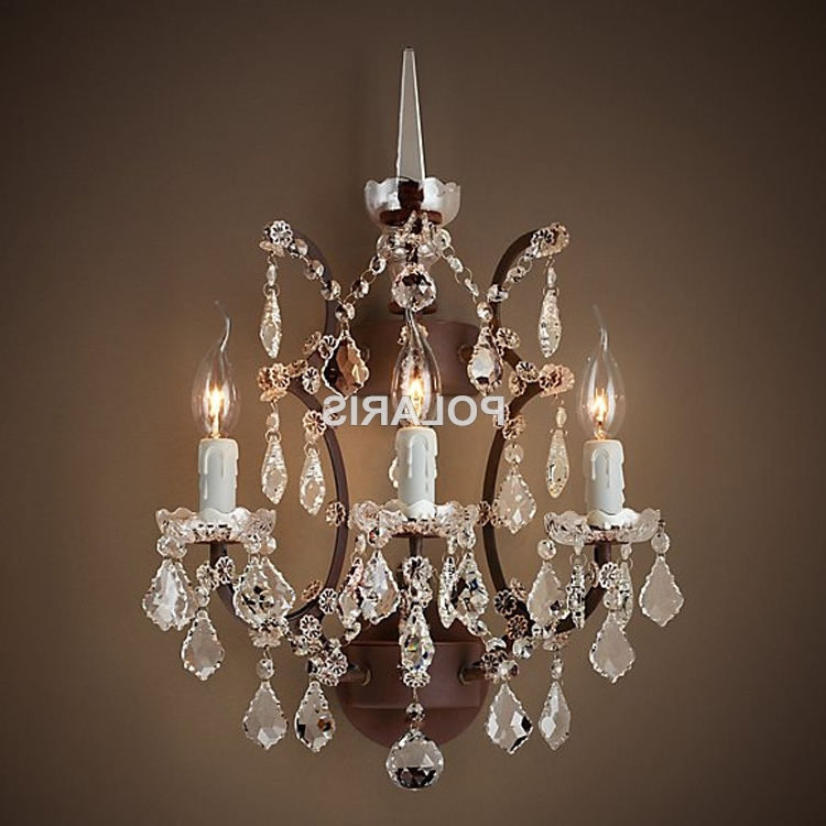 Wall Mount Crystal Chandeliers Intended For Widely Used Wall Sconce Lamp Light Modern Art Decor Vintage Crystal Chandelier (View 8 of 10)