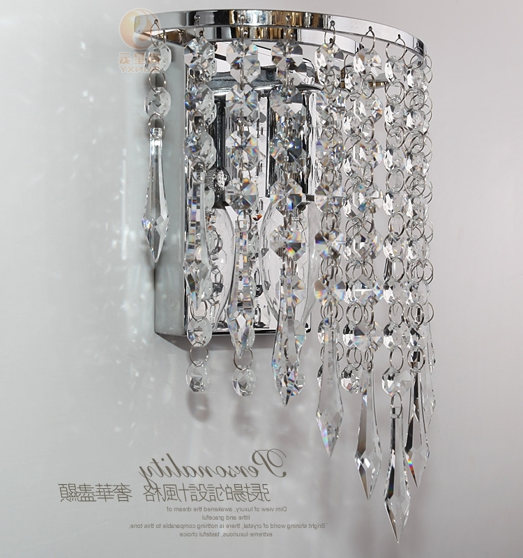 Wall Mount Crystal Chandeliers Pertaining To Fashionable Modern Luxury K9 Crystal Led Wall Lights Lamp Aluminum Wall Mounted (Gallery 2 of 10)