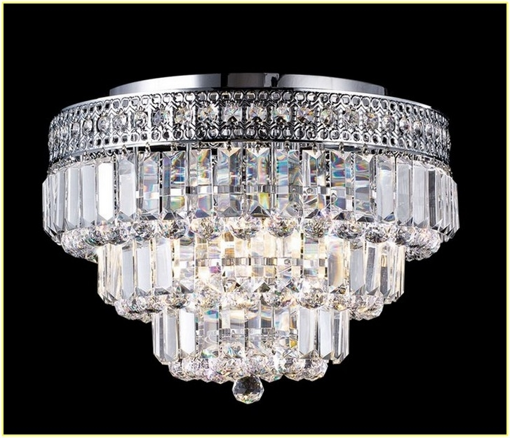 Wall Mount Crystal Chandeliers With Latest Mia Faceted Crystal Flushmount Pottery Barn In Flush Mount Light (View 10 of 10)