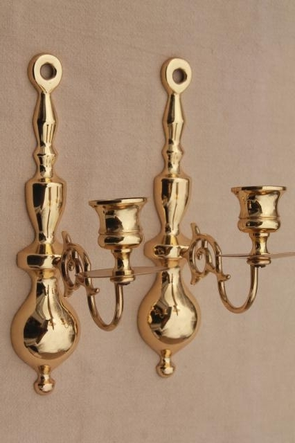 Wall Mounted Candle Chandeliers Within Trendy Vintage Baldwin Brass Wall Mount Candle Holder Sconces, Polished (View 3 of 10)
