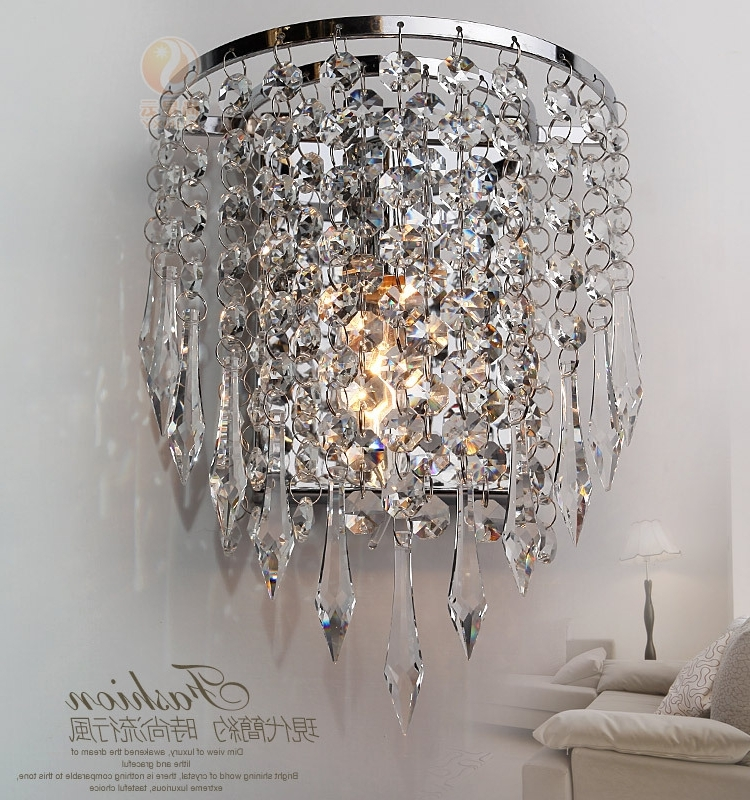 Wall Mounted Chandelier Lighting Within Well Known Modern Luxury K9 Crystal Led Wall Lights Lamp Aluminum Wall Mounted (View 10 of 10)