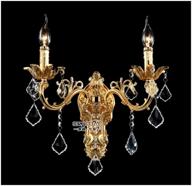 Wall Mounted Chandeliers In 2017 Wholesale Golden Crystal Wall Light Fixture Silver Wall Sconces Lamp (View 5 of 10)