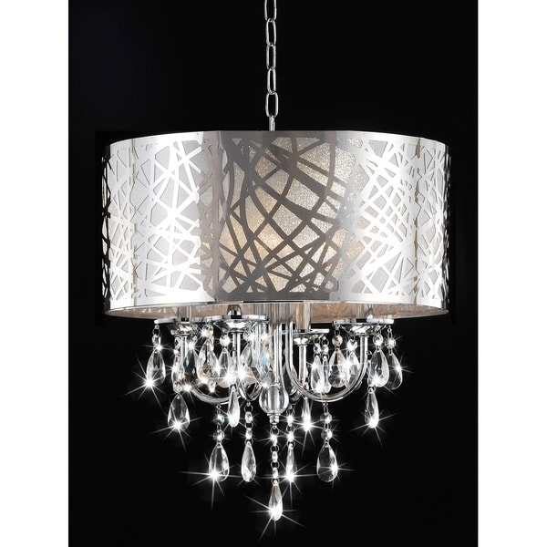 Well Known 4 Light Chrome Crystal Chandeliers Pertaining To 4 Light Chrome Crystal Chandelier – Free Shipping Today – Overstock (View 10 of 10)