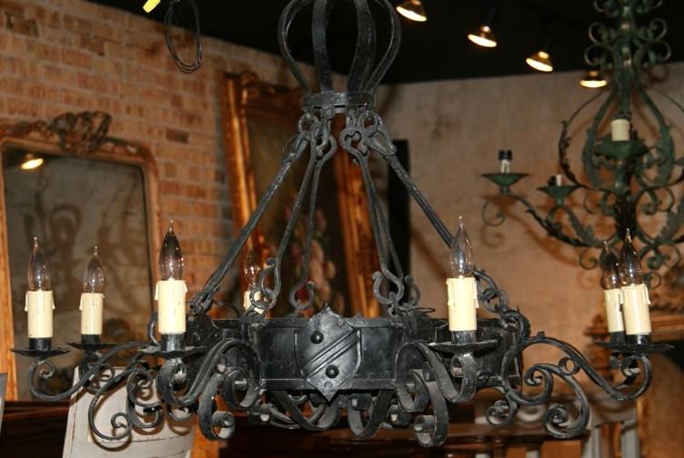 Well Known Antique Black Chandelier Pertaining To Antique French Iron Chandelier With Shield Accents – Sold – (View 10 of 10)
