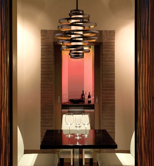 Well Known Bronze Modern Chandelier Pertaining To Vertigo Spiral Bronze And Gold Leaf Modern Pendant Chandelier (View 5 of 10)