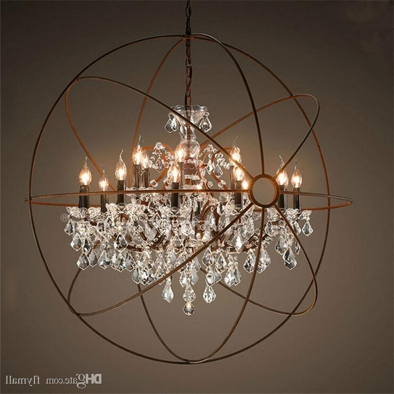 Well Known Country Hardware Vintage Orb Crystal Chandelier Lighting Rh Rustic With Globe Crystal Chandelier (View 2 of 10)