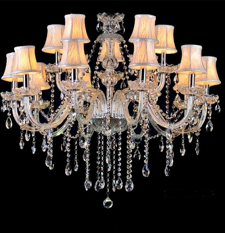 Well Known Crystal Chandeliers With Shades Regarding Led Lamps Crystal Chandelier Vintage Candle Chandeliers With Fabric (View 9 of 10)