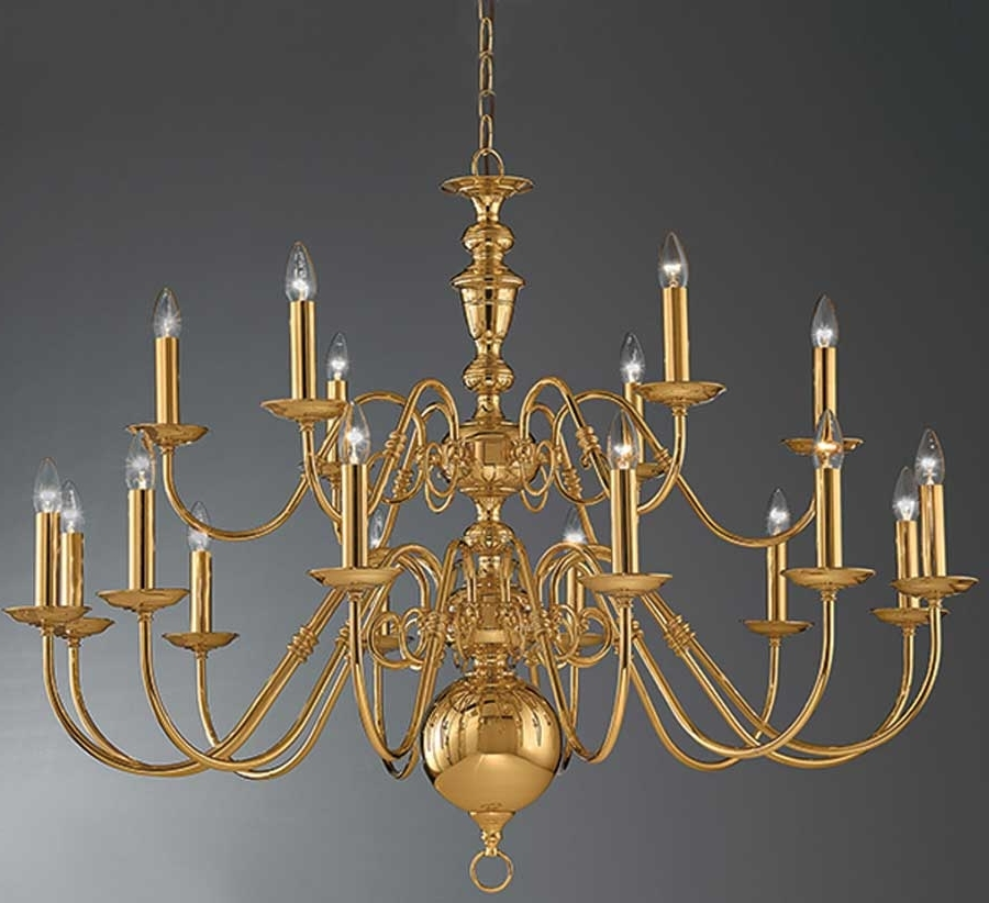 Well Known Flemish Brass Chandeliers With Regard To Franklite Delft Large Polished Brass 18 Light Flemish Chandelier (View 10 of 10)