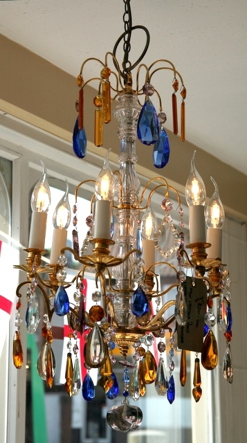 Well Known French Coloured Glass Chandelier – Th161 In Coloured Glass Chandelier (View 10 of 10)