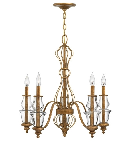 Well Known Gold Leaf Chandelier Pertaining To Hinkley 3085Gf Celine 5 Light 25 Inch Antique Gold Leaf Chandelier (View 10 of 10)
