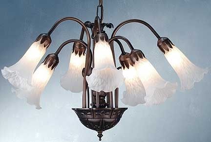 Well Known Lily Chandeliers Regarding Tiffany Lamps, Seven Light Lily Chandeliermeyda Tiffany (View 10 of 10)