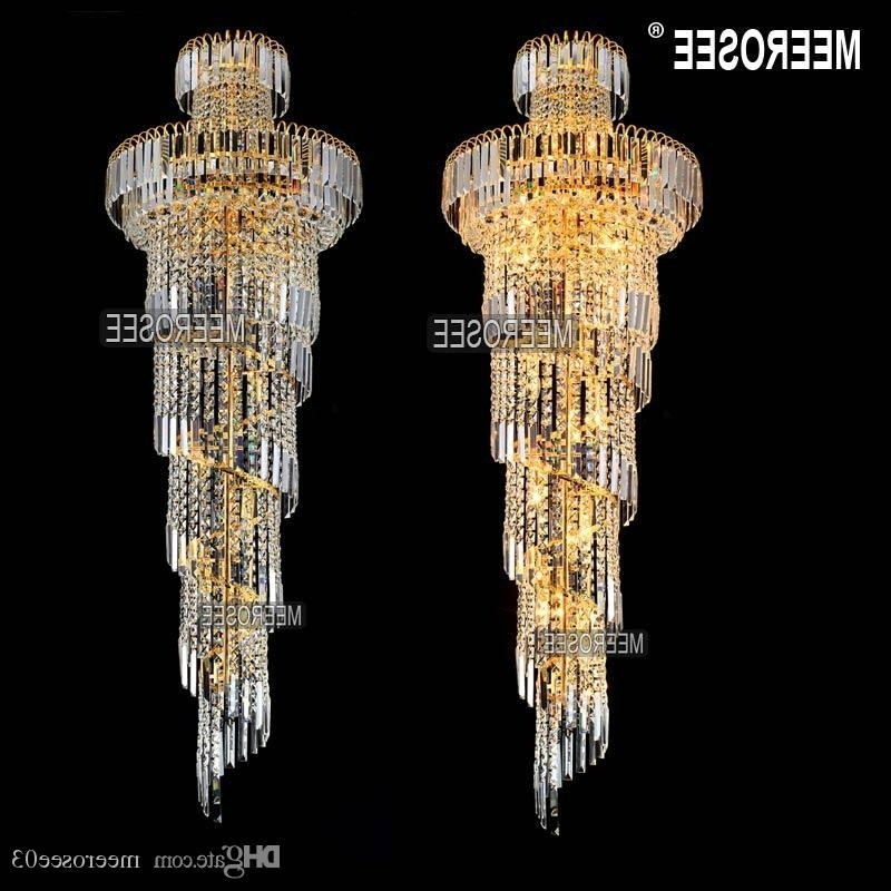 Photo gallery of long chandelier light showing 3 of 10 photos well known long chandelier light for long spiral gold or silver crystal chandelier lighting fixture aloadofball