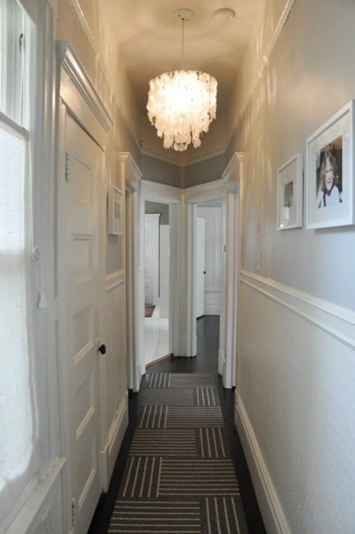 Well Known Narrow Small Hallway Painted In White Walls And Illuminated With Intended For Small Hallway Chandeliers (View 7 of 10)